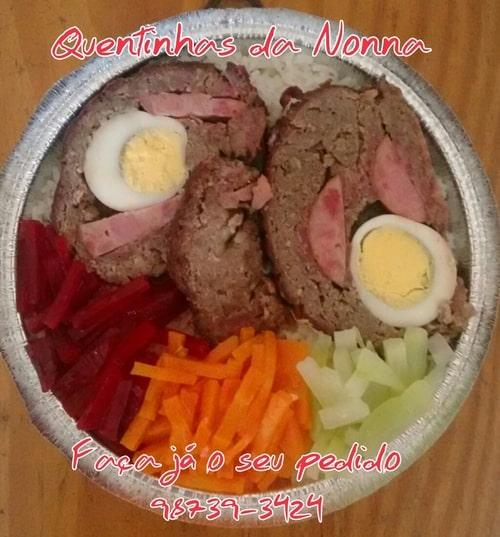 Quentinha bolo de carne com legumes